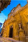The imposing facade of the Baroque Cathedral of Saint Agatha in Gallipoli in Puglia, Italy