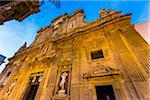 he imposing facade of the Baroque Cathedral of Saint Agatha in Gallipoli in Puglia, Italy