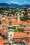 Overview of Rooftops and Towers in Zagreb, Croatia