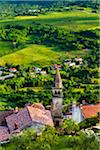 Overview of farmland and looking down on rooftops of the medieval town of Motovun in Istria, CroatiaCroatia
