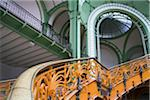Yellow stairs of Grand Palais in Paris, France. Emblematic building of universal exhibition of 1900