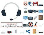 Set of 24 Computer Icons. Flat color design. Vector illustration.