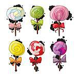 Set of colorful lollipops in hand drawn style. Collection of spiral candies sketch