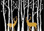 Christmas card with golden reindeer and birch trees forest on black background, vector illustration
