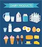 Dairy products icon set, flat style. Milk products icon set. Milk and Cheese collection. Farm foods. Vector illustration