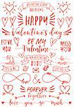 Valentine's day text overlays and hand drawn hearts, set of vector design elements