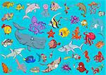 Cartoon Illustrations of Sea Life Animals and Fish Characters Group