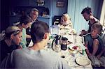 Family having meal together