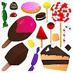 Vector illustrated cartoon set of sweets on white background.