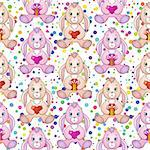 Seamless Holiday Background with Cartoon Rabbits, Bunnies with Valentine Hearts and Gift Boxes in Paws, Tile Pattern with Cute Characters and Colorful Confetti. Eps10, Contains Transparencies. Vector