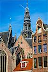 The rooftops of the Oude Kerk in the city center of Amsterdam, Holland