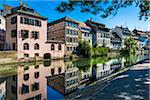 Traditional half-timber houses along the River Ill at Petite France in Strasbourg, France