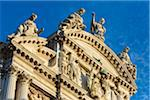 Close-up of the rooftop of St Mary of the Lily Church (Chiesa di Santa Maria del Giglio) in Venice, Italy