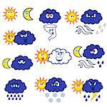 Set of eleven cartoon color weather symbols, vector illustration isolated on the white background