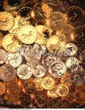 Canadian Coins    Stock Photo - Premium Rights-Managed, Artist: David Muir, Code: 700-00015737