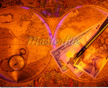 Antique Map, Compass, Pen and International Currency    Stock Photo - Premium Rights-Managed, Artist: David Muir, Code: 700-00016562