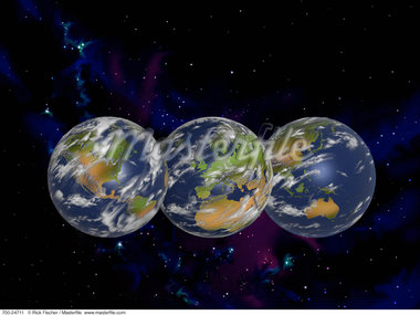 Three Globes Displaying Continents of the World in Starry Sky    Stock Photo - Premium Rights-Managed, Artist: Rick Fischer, Code: 700-00024711
