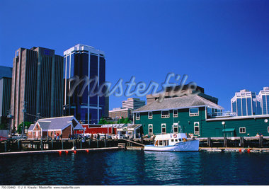 Buildings and Boats on Harbor Halifax, Nova Scotia, Canada    Stock Photo - Premium Rights-Managed, Artist: J. A. Kraulis, Code: 700-00029460
