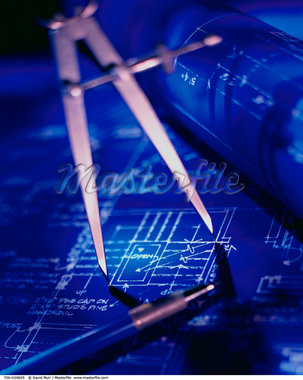 Close-Up of Compass on Blueprints    Stock Photo - Premium Rights-Managed, Artist: David Muir, Code: 700-00029605