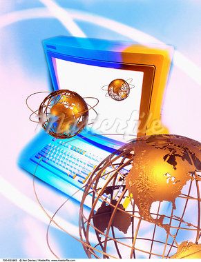 Computer and Three Globes Displaying Continents of the World    Stock Photo - Premium Rights-Managed, Artist: Ken Davies, Code: 700-00031685