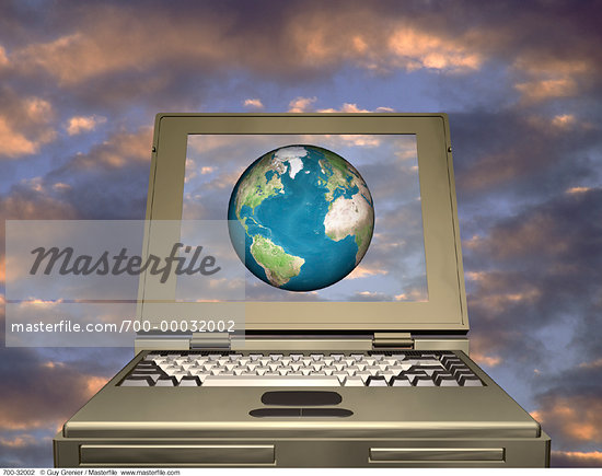 Laptop Computer in Sky with Globe Atlantic Ocean    Stock Photo - Premium Rights-Managed, Artist: Guy Grenier, Code: 700-00032002