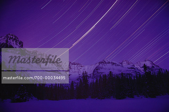 Star Trails and Mountains Lake O'Hara British Columbia, Canada    Stock Photo - Premium Rights-Managed, Artist: J. A. Kraulis, Code: 700-00034495