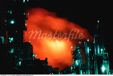 Petrochemical Refinery at Night Sarnia, Ontario, Canada    Stock Photo - Premium Rights-Managed, Artist: J. A. Kraulis, Code: 700-00034525