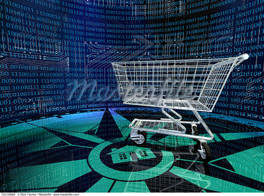 Shopping Cart in Internet Landscape    Stock Photo - Premium Rights-Managed, Artist: Rick Fischer, Code: 700-00039866