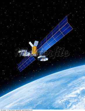 Satellite and Planet    Stock Photo - Premium Rights-Managed, Artist: Guy Grenier, Code: 700-00040830