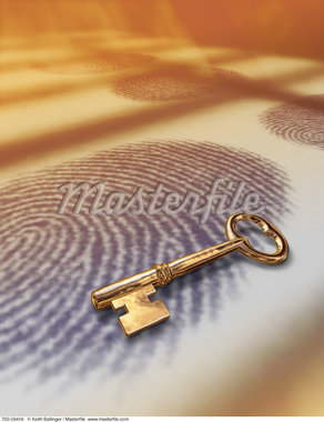 Gold Skeleton Key on Fingerprint    Stock Photo - Premium Rights-Managed, Artist: Keith Ballinger, Code: 700-00056416