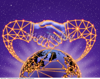 Globe and Abstract Handshake With Connecting Lines In Space    Stock Photo - Premium Rights-Managed, Artist: Thomas Dannenberg, Code: 700-00057148