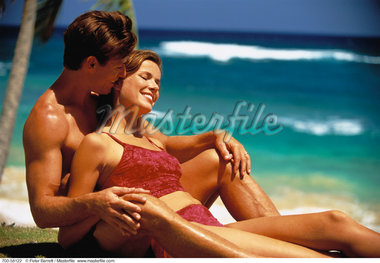 Couple in Swimwear, Relaxing on Beach Dominican Republic, Caribbean    Stock Photo - Premium Rights-Managed, Artist: Peter Barrett, Code: 700-00058122