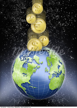 Coins with International Currency Symbols Entering Globe as Piggy Bank in Space    Stock Photo - Premium Rights-Managed, Artist: Nora Good, Code: 700-00062318