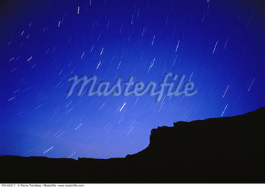 Star Trails and Silhouette of Rock Formation Utah, USA    Stock Photo - Premium Rights-Managed, Artist: Pierre Tremblay, Code: 700-00065017