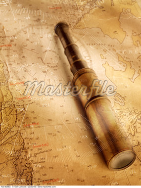 Antique Map and Telescope    Stock Photo - Premium Rights-Managed, Artist: Tom Collicott, Code: 700-00080683