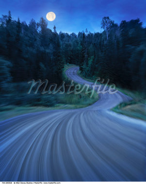 Moonrise over Road through Forest    Stock Photo - Premium Rights-Managed, Artist: Allan Davey Studios, Code: 700-00285828