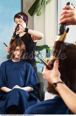 Woman Getting her Hair Done    Stock Photo - Premium Rights-Managed, Artist: Robert Karpa, Code: 700-00328152