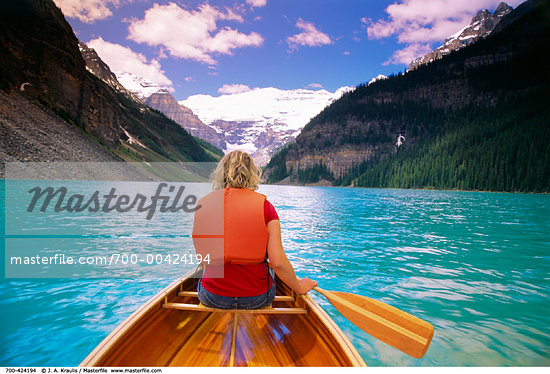 Canoeing, Lake Louise, Banff