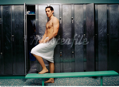 Man in Locker Room    Stock Photo - Premium Rights-Managed, Artist: David Muir, Code: 700-00453425