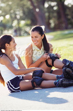 Mother and Daughter Rollerblading    Stock Photo - Premium Rights-Managed, Artist: Kevin Dodge, Code: 700-00522323