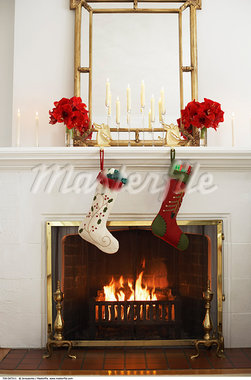 Fireplace and Full Stockings on Christmas Morning    Stock Photo - Premium Rights-Managed, Artist: Jerzyworks, Code: 700-00547211