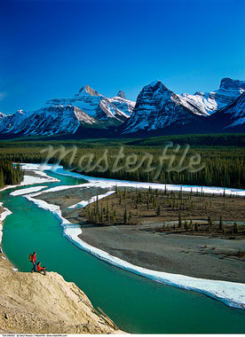 Goat Lick Viewpoint, Athabasca River, Jasper National Park, Alberta, Canada    Stock Photo - Premium Rights-Managed, Artist: Daryl Benson, Code: 700-00549262