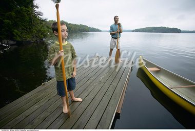 Father and Son on Dock    Stock Photo - Premium Rights-Managed, Artist: Peter Griffith, Code: 700-00549729