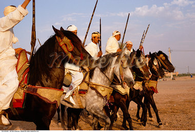 Men Riding Horses, Marrakech, Morocco    Stock Photo - Premium Rights-Managed, Artist: Mark Downey, Code: 700-00555594