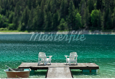 Two Chairs and Fishing Boat on Dock, Allison Lake, British Columbia, Canada    Stock Photo - Premium Rights-Managed, Artist: Bill Frymire, Code: 700-00561327