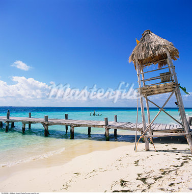 Lifeguard Hut on the Beach, Isla Mujeres, Quintana Roo, Mexico    Stock Photo - Premium Rights-Managed, Artist: Alberto Biscaro, Code: 700-00592986