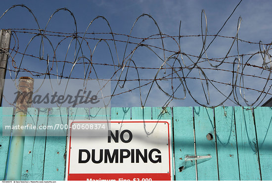 No Dumping Sign    Stock Photo - Premium Rights-Managed, Artist: Dave Robertson, Code: 700-00608374