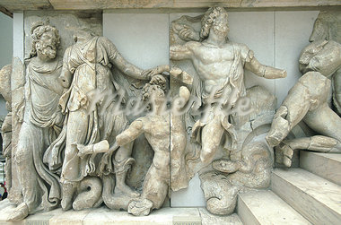 Germany, Berlin, Pergamon museum, stone frieze from the Pergame temple Stock Photo - Premium Royalty-Freenull, Code: 610-00681639