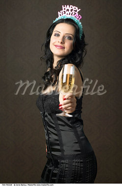 Woman Toasting on New Year's Eve    Stock Photo - Premium Rights-Managed, Artist: Janet Bailey, Code: 700-00795328