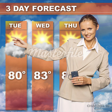 Mid adult woman presenting the weather forecast on tv Stock Photo - Premium Royalty-Freenull, Code: 618-00832747